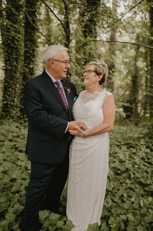 couple in their 70s on their wedding day