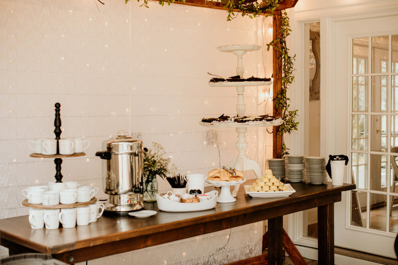 dessert and coffee on farmhouse table for sweet sixteen party