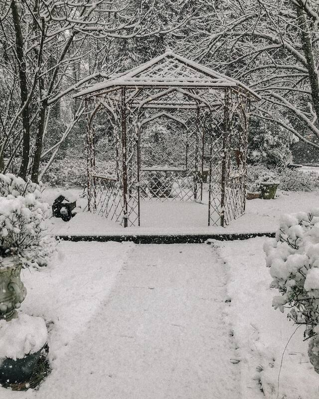 gazebo at Four Oaks covered in snow
