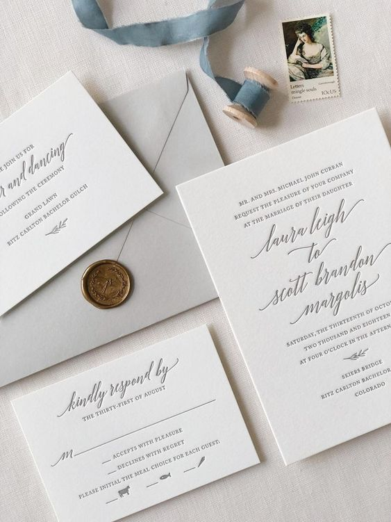 neutral wedding invitations with invite, RSVP card, and reception card