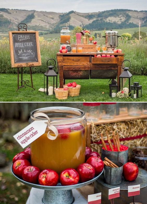 apple cider bar at outdoor venue decorated with hay, apples, and lanterns