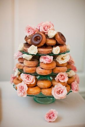 tiered donut platter with flowers