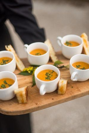 individual tomato soup and grilled cheese appetizers