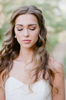Summer wedding curled hairstyle half up-do