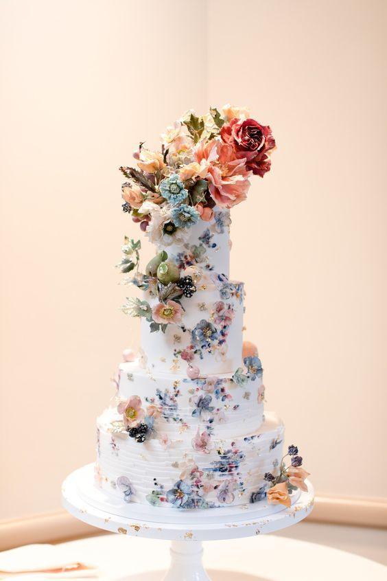 extravagant wedding cake with florals