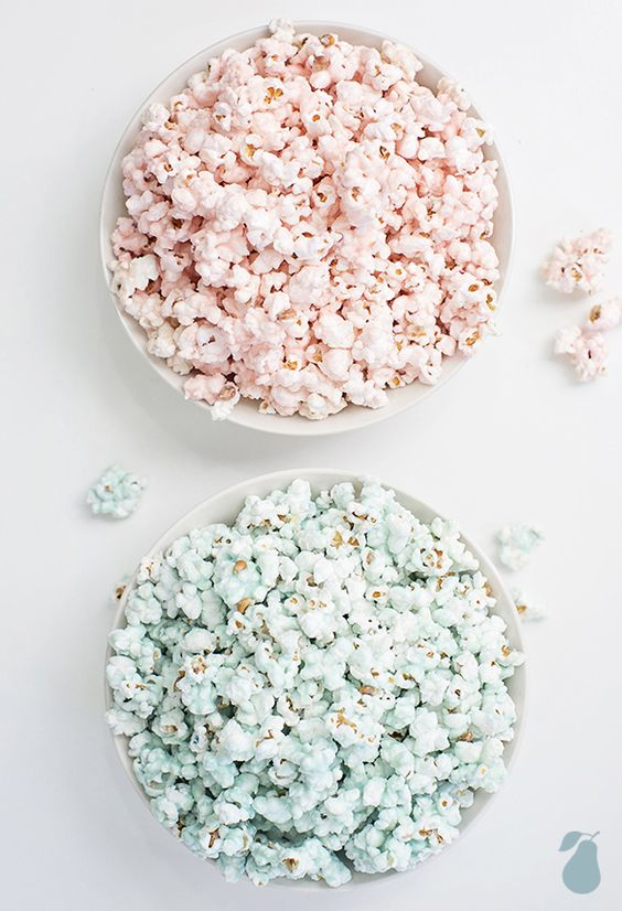 blue and pink colored popcorn