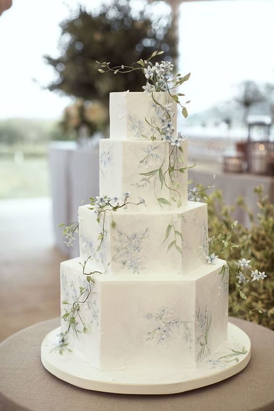 romantic wedding cake with soft floral details