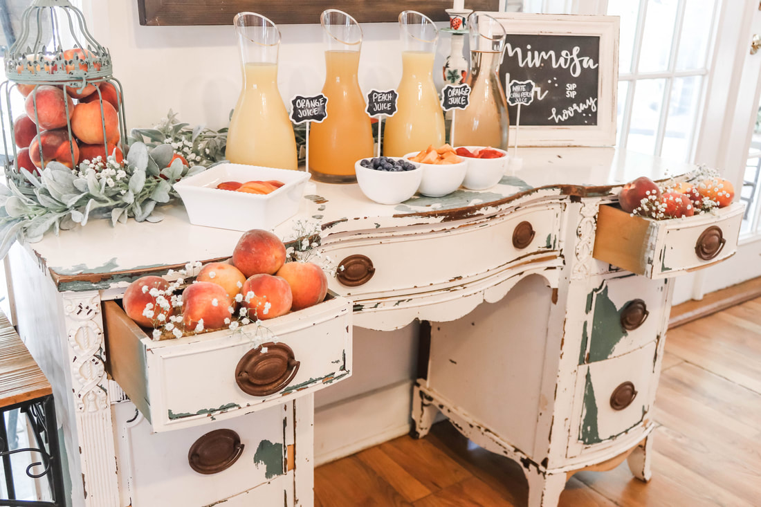 peach themed mimosa bar and bridal shower
