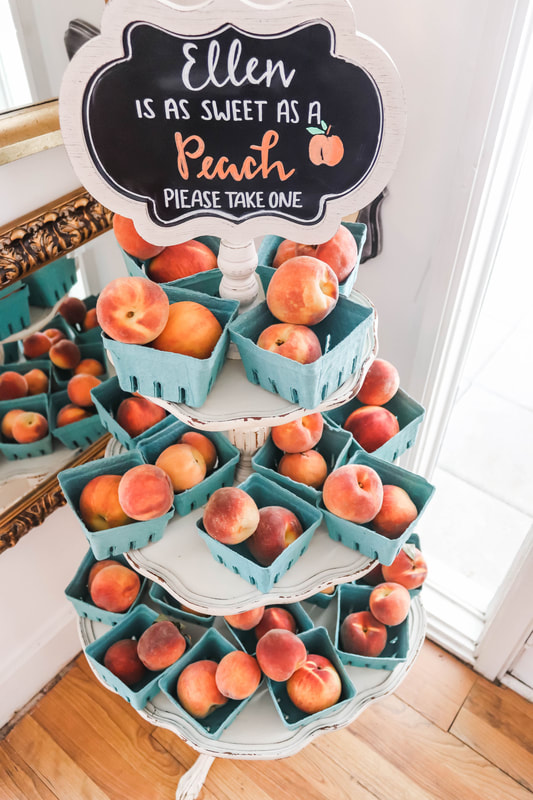 peach favors for peach-themed bridal shower