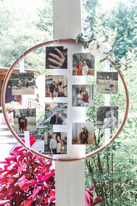 Round photo display bridal shower