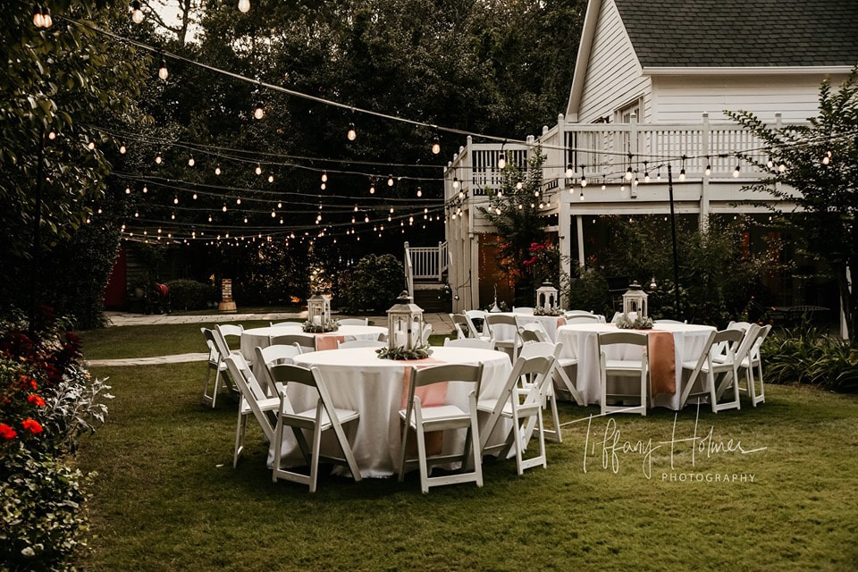 intimate outdoor wedding reception in the fall buford ga