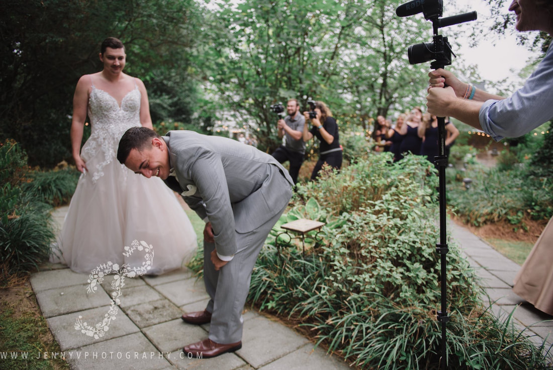 fake first look between groom and best man