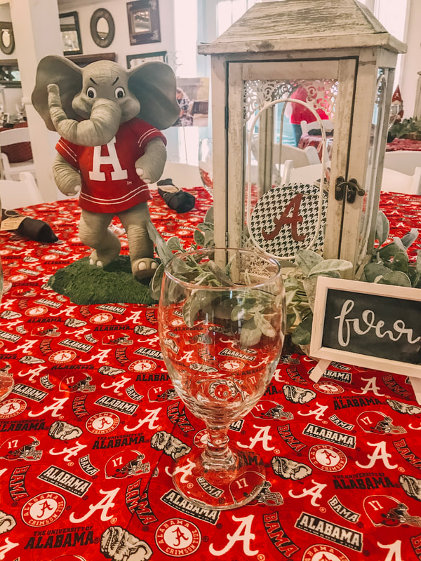 alabama football themed tables