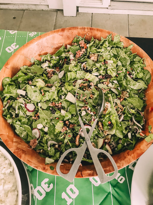 green salad bowl for rehearsal meal