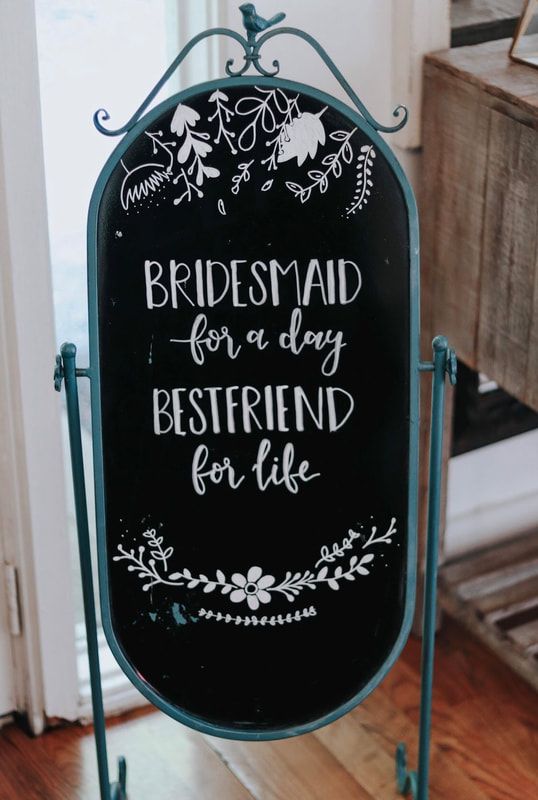 Bridesmaid luncheon chalkboard