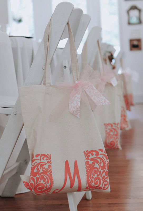 Pink gift totes for bridal shower