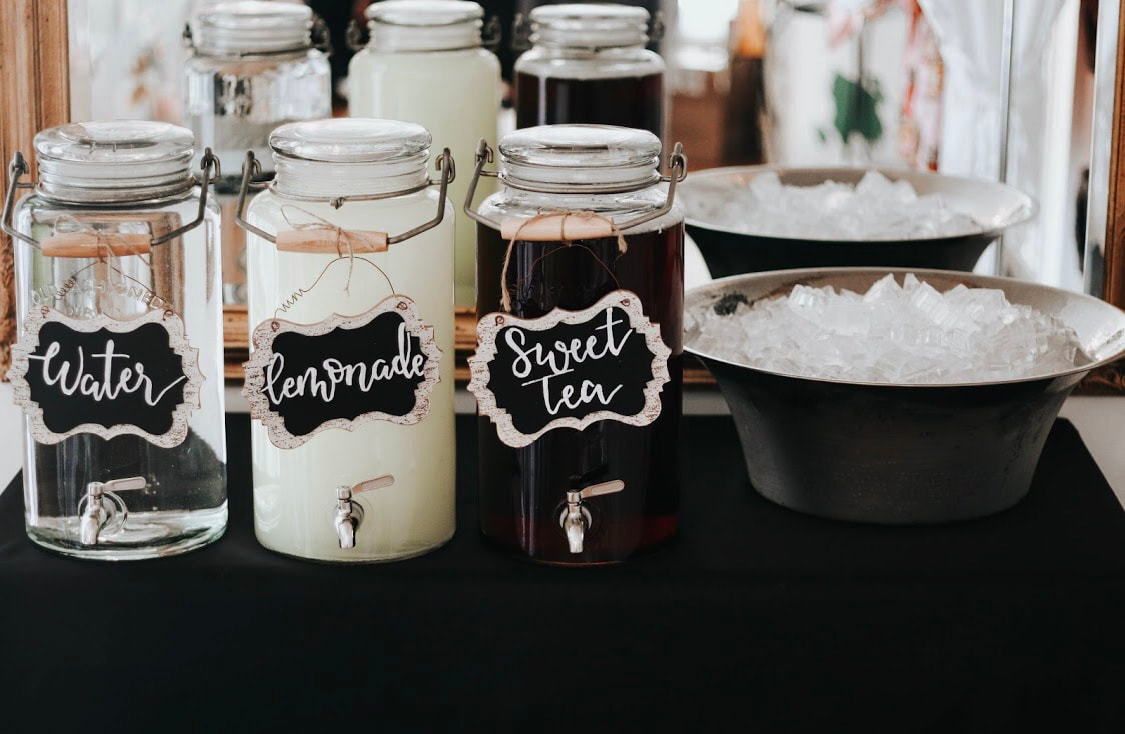 Drink station setup at bridal luncheon