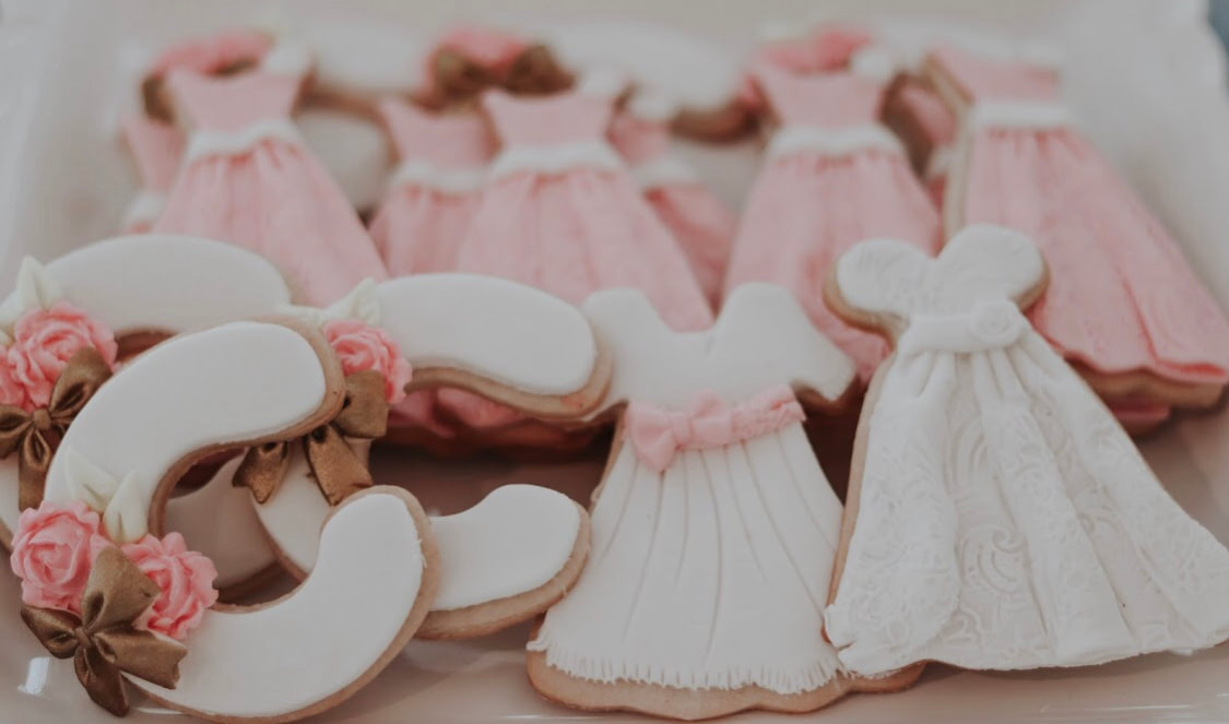 Custom cookies for pink bridesmaid luncheon