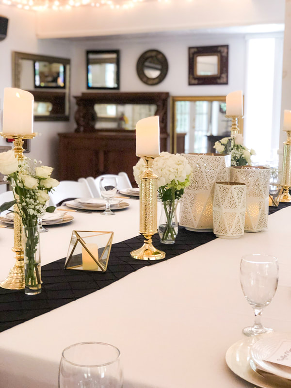 gold, black and white modern table decor