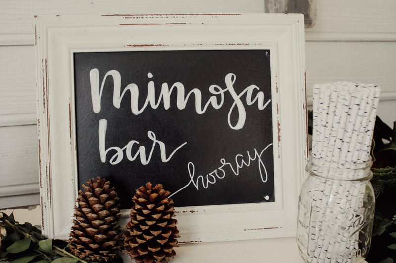 winter themed mimosa bar