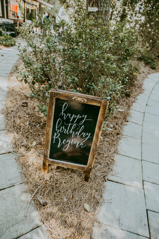 happy birthday regina chalkboard sign