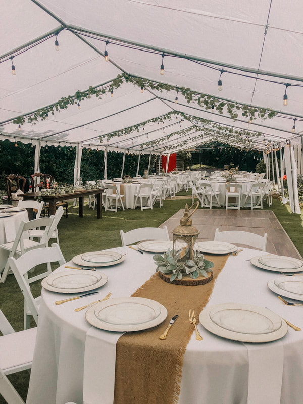 country chic outdoor wedding under white tents