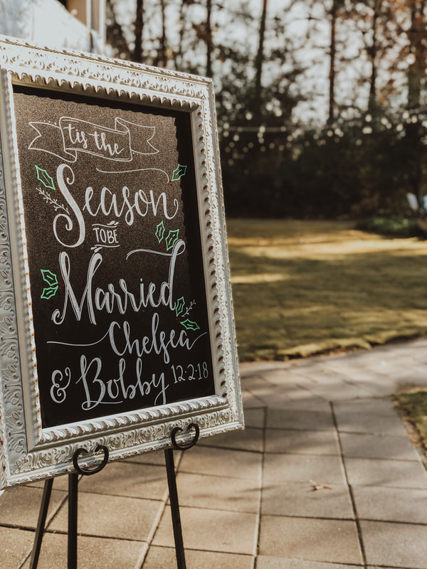 tis the season to be married chalkboard sign