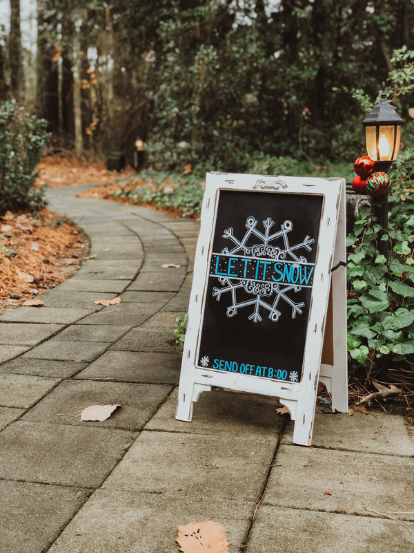 Let it snow grand exit chalkboard sign