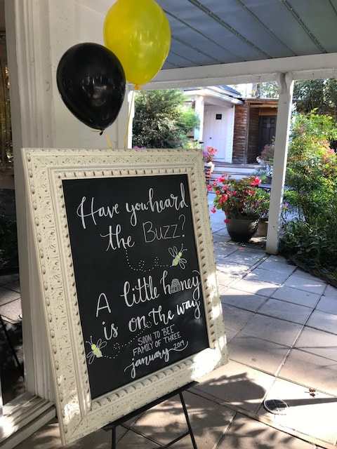 bee themed baby shower chalkboard sign