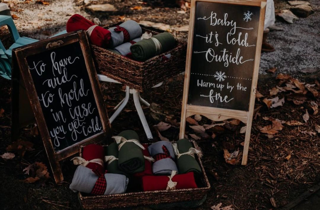 to have and to hold chalkboard sign with blanket favors