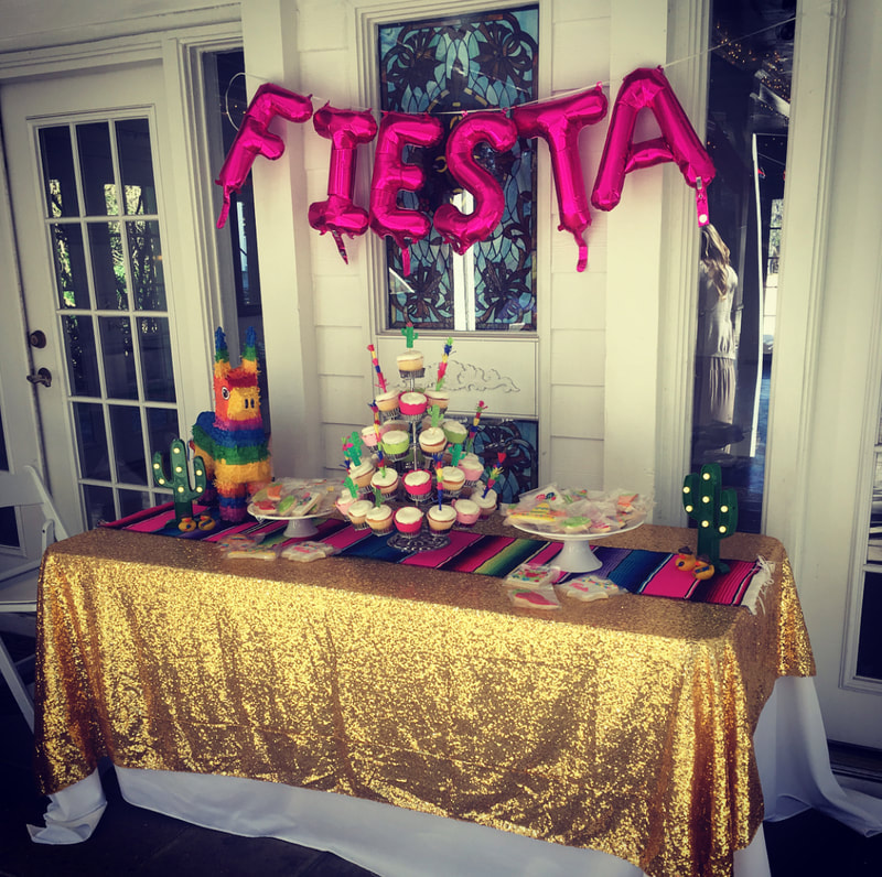 fiesta themed dessert table baby shower