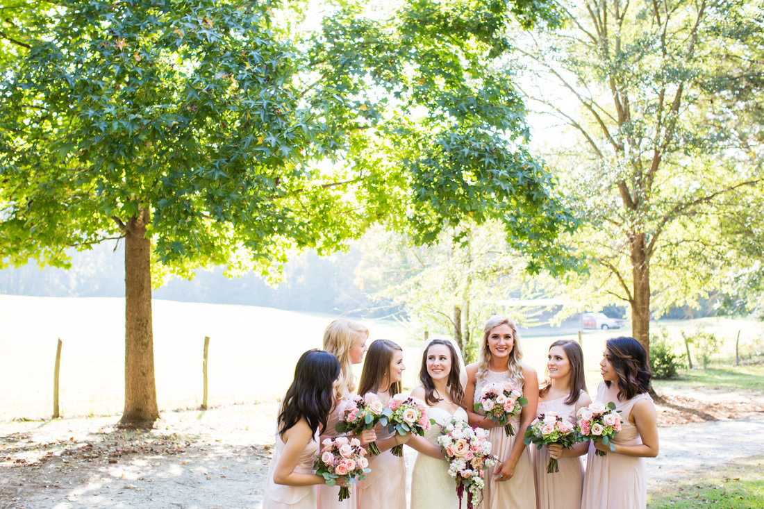 bride surrounded by bridesmaids in light pink bridesmaid dresses