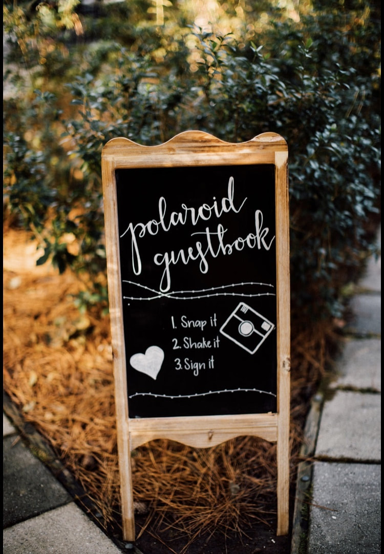 polaroid guestbook chalkboard sign with instructions