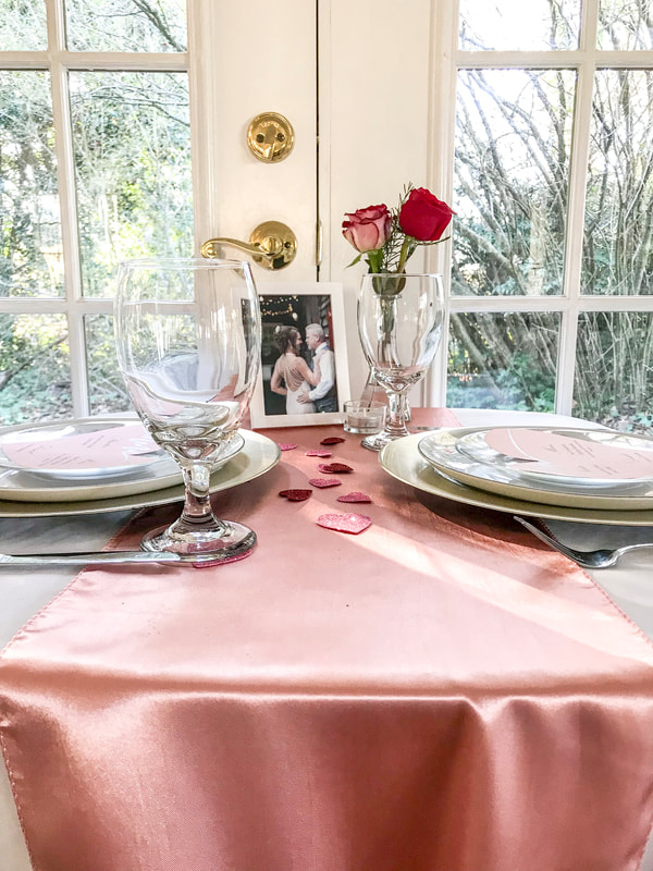 Valentine's Dinner table decoration for two