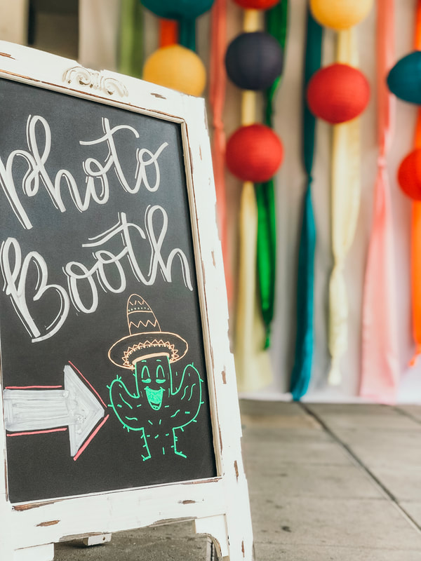 Fiesta themed photo booth chalkboard sign
