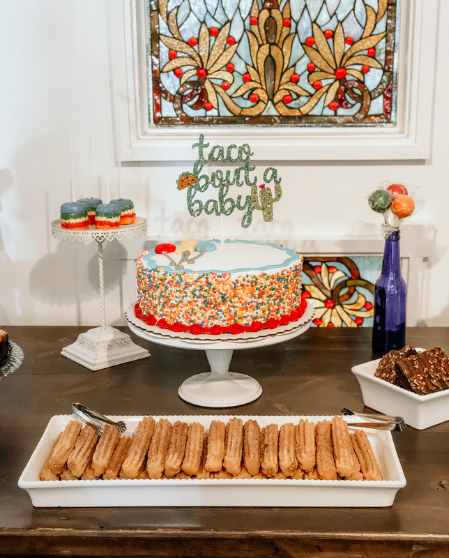 fiesta themed baby shower dessert table