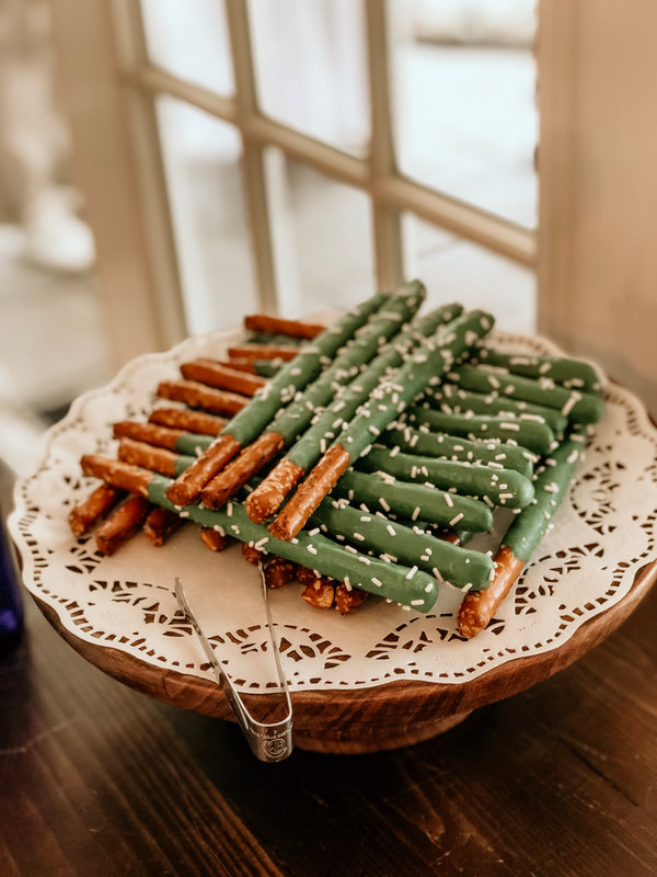 frosting covered cactus pretzels
