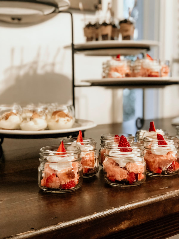 mini strawberry shortcakes and banana puddings dessert bar