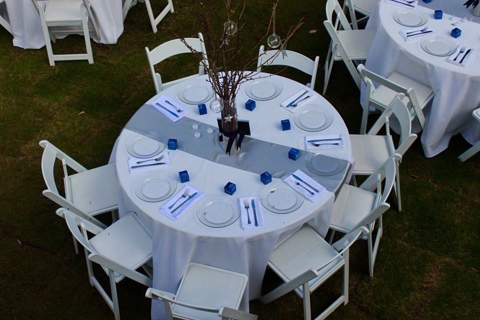 Blue and silver table setting winter party
