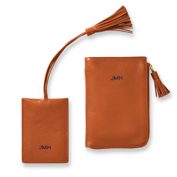 leather passport wallet and luggage tag with initials