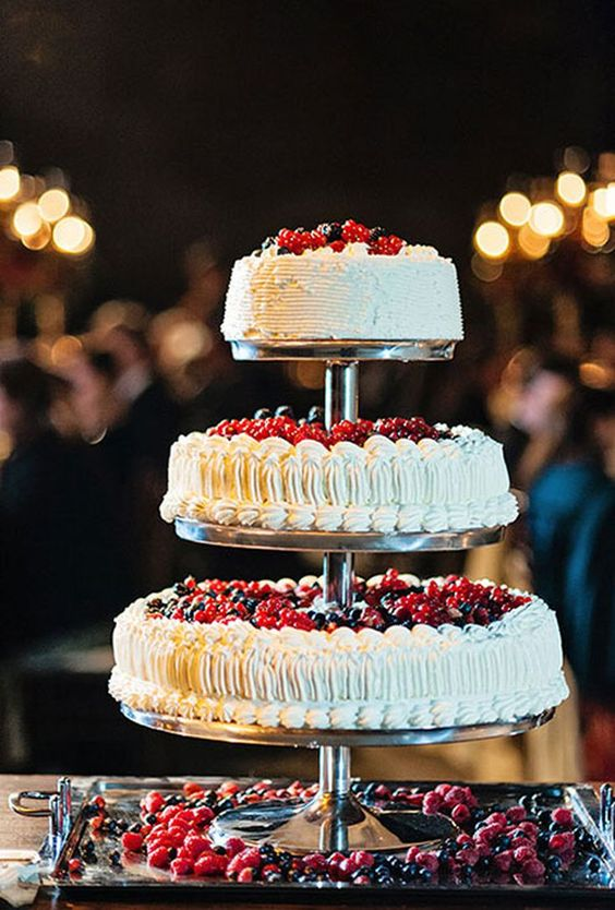 traditional Italian wedding cake with mixed berries and currants