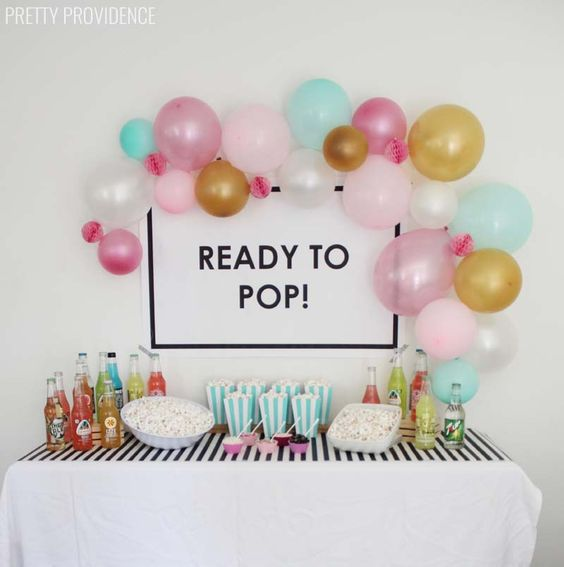 'ready to pop!' popcorn bar for baby shower