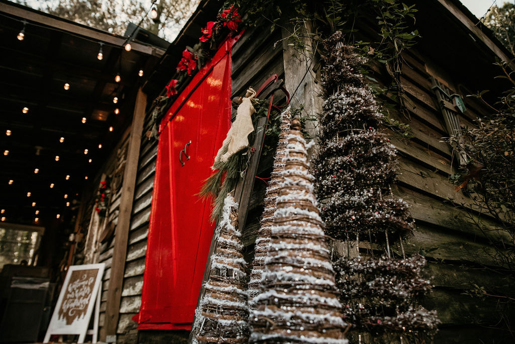 Christmas tree decorations by smokehouse red doors