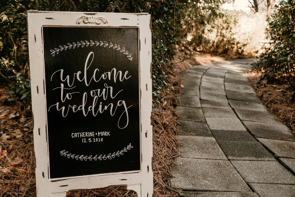 'welcome to our wedding' chalkboard sign